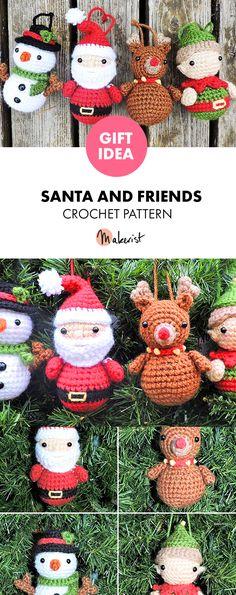 Santa and Friends stuffed toys - Crochet Pattern via Makerist.com