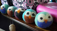 4 felted wool dryer balls. Custom size package and by BecksWares