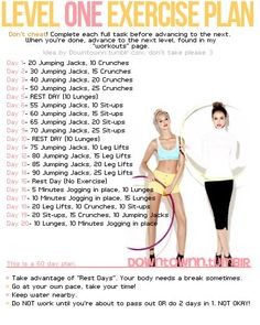 Level One Exercise Plan - from a great blog all about fitness, food, and getting healthy