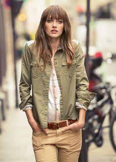 Moda #mujer en colores camel y #verdemilitar en MANGO del C.C. El Saler- Ethnic panel shirt en @MANGO