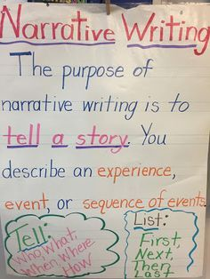 Help your Kindergarten, or grade classroom or homeschool students better understand transitional words with the anchor chart. Narrative Writing Kindergarten, Narrative Writing Prompts, Kindergarten Anchor Charts, Personal Narrative Writing, Third Grade Writing, Writing Anchor Charts, Teaching Writing, In Kindergarten, Personal Narratives
