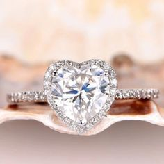 Engagement Rings Under 500, Elegant Engagement Rings, Moissanite Rings, Conflict Free Diamonds, Diamond Wedding Bands, Heart Shapes, Make It Simple, Heart Ring, Vintage Jewelry