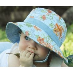 Baby Boys Bucket Hat - Harvy Blue ocean theme fabric.