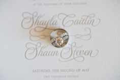 Calligraphy Traditional White Wedding Invitation with Wedding Rings