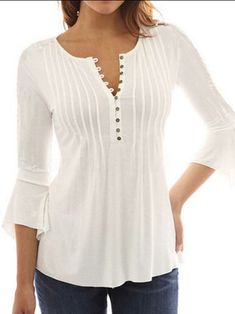 Asymmetrical Buttoned Crew Neck 3/4 Sleeve Simple Blouse