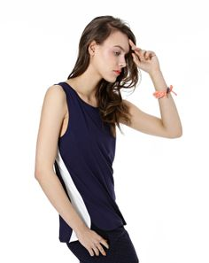 #ss2014 #navyblue Sports Luxe, Basic Tank Top, Navy Blue, Spring Summer, Lifestyle, Clothes For Women, Tank Tops, Model, Collection