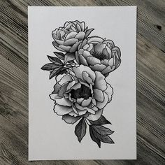 peony flower tattoo black and white - Google Search