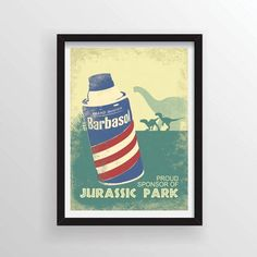 Clever Jurassic Park Movie Poster - Looks Like a Vintage Barbasol Ad - A3 and 13 x 19 Available by Cloud9Craftss on Etsy https://www.etsy.com/listing/235727239/clever-jurassic-park-movie-poster-looks
