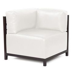Howard Elliott Avanti White Axis Corner Chair - Mahogany Frame