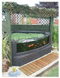 kolam ikan kaca di depan rumah