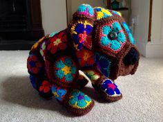 Bull dog - african flower crochet motif