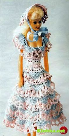Blue and white Barbie dress ♥LCD♥ with diagram