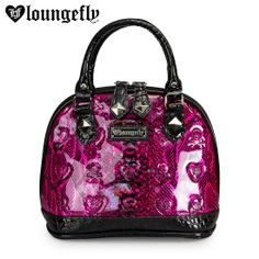Slither thru town in sss-style with a Loungefly Patent Pink And Black Snake Skin Embossed Mini Bag.  http://www.loungefly.com/bags/totes/loungefly-patent-pink-and-black-snake-skin-embossed-mini-bag.html