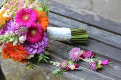 bukiet slubny, gerbery, dalie...pomarańcz, róż, fiolet
