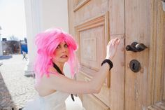 SOS!!! Rebellious Bride checks the exits at her wedding venue!