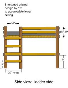 Loft Bed Plans | Afloat I wish I had found these before. Shorter loft bed for joey.