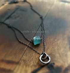 FREE SHIPPING ! Ancient Glass Necklace and Raw Sterling Silver - Delicate Necklace - Roman Glass  - Artisan