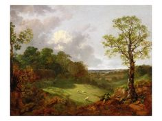 """""""Wooded Landscape with a Cottage, Sheep and a Reclining Shepherd""""  by Thomas Gainsborough (1727-1788)."""