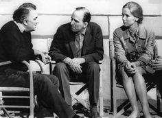 Federico Fellini with Ingmar Bergman and Liv Ullmann in Rome, 1969.
