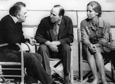 Federico Fellini with Ingmar Bergman and Liv Ullmann in Rome, 1969.