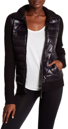 Andrew Marc Packable Mixed Media Down Jacket