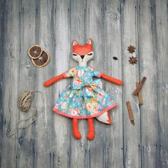 Plush foxy doll ready to ship  Cloth doll by MiracleInspiration