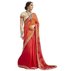 Red Colored Printed Faux Georgette Casual Wear Saree Triveni