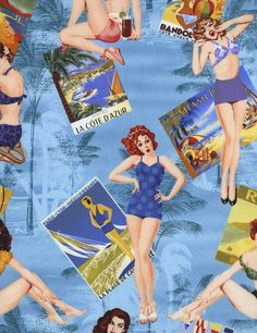 Tecido Importado para Patchwork, Pin Up Girls