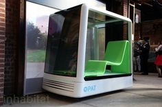 The P.A.T. is an adaptable cube-shaped pod that would hold up to two people. A network of driverless vehicles would communicate with each other and a smart grid, eliminating congestion, providing swift transport of both people and packages.