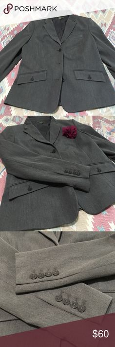 Eddie Bauer size 10 Dress Coat Grey Three buttons. Chest pocket is stitched closed. Super cute. It just does not fit anymore. Like new. It is used but in great condition. Please let me know if you have questions. Eddie Bauer Jackets & Coats