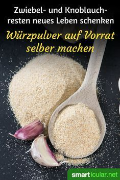 Knoblauch- und Zwiebelpulver selber machen: Auch zur Resteverwertung Before half onions spoil in the refrigerator, you can simply dry them and process them into versatile onion seasoning powder. Vegetarian Recipes, Healthy Recipes, Fat Burning Detox Drinks, Party Buffet, Baking Tips, Diet And Nutrition, How To Cook Pasta, Cooking Time, Korn