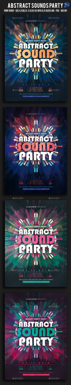 Abstract Sounds #Party #Flyer - Clubs & Parties #Events Download here:  https://graphicriver.net/item/abstract-sounds-party-flyer/19548824?ref=alena994