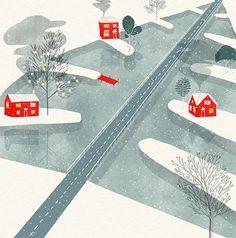 Just beautiful: Christmas Lake by UK artist Rosanna Tasker  #illustration #art