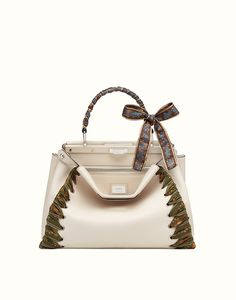 FENDI PEEKABOO - white leather handbag