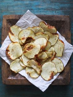 Making a healthier version of potato chips at home has never been so easy!  With only four ingredients, you can satisfy your salty cravings without any guilt!