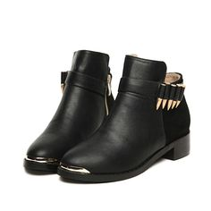 in love! Bullet Embellished Zippered Ankle Boot £14.48