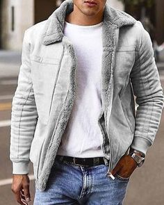 Bomber Jacket Winter, Bomber Jacket Men, Men's Jacket, Mode Masculine, Mode Man, Fur Collar Jacket, Cotton Jacket, Faux Leather Jackets, Grey Leather