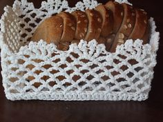 Crocheted Basket Bread basket table decor - Storage  red,white,brown