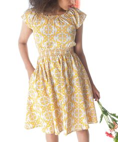This Yellow Twist & Twirl Cap-Sleeve Dress by Mata Traders is perfect! #zulilyfinds
