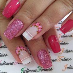 ThereBeauty 4 Trends of Nails Beauty in 2020 French nails style, back to the nails, make life more fun;Natural nails, best just natural. Gel Uv Nails, Fall Gel Nails, New Year's Nails, Pink Glitter Nails, Pink Ombre Nails, Rose Gold Nails, Nail Pink, Red Nail, Nail Nail
