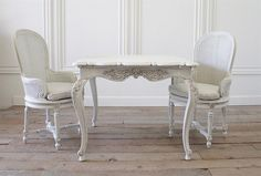 Antique Carved Dinette Table with Two Louis XVI Cane Chairs from Full Bloom Cottage