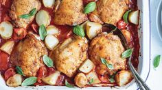 Smoky Tomato-Baked Chicken with Baby Potatoes. Smoked paprika is a time-strapped cook's best friend – it instantly lends a smoky flavor and rich aroma to everything it touches. Here, it makes this saucy dish taste like it's been simmering for hours. Bone-in chicken thighs are often sold with the skin still attached, but it's easy to remove yourself: Simply grasp the edge of the skin with paper towel and pull it away in one go. Sprinkle with fresh herbs, such as oregano or basil, just…