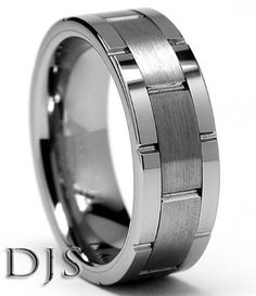 Men's Tungsten Carbide Grooved Ring Wedding Band Size 8 to 14 5 | eBay