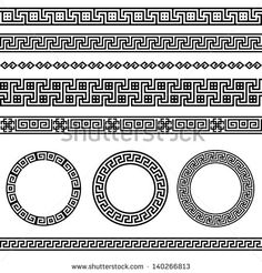 Conjunto de bordes de meandro griego tradicional. Conjunto de marcos vectorial antiguo. Patrones de elementos de decoración en colores blanco y negro. Colecciones étnicas. Ilustraciones vectoriales.