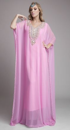 Beautiful Lavender Color Long Sleeve Kaftan