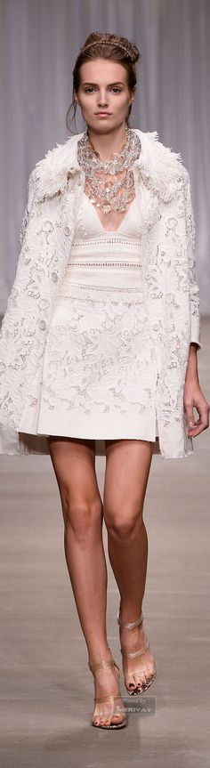 Winter/Spring Fashion| Ermanno Scervino. Spring 2015 Collection. Elegant, matching white on white eyelet appliqué short dress and coat.
