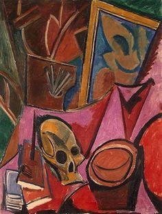 """Pablo Picasso ,""""Composition avec crâne"""" (1908) Couleurs vives, amas d'objets (crâne, livres, chapeau...), contraste avec les natures mortes classiques qui sont plutôt sombres"""