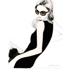 «A drawing from 2015 soon to become a print available from my website -the original now lives in Monaco! #illustration #prada #sunglasses #shift #drawing…»