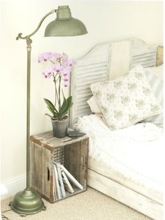Headboard is from swinging bar-type doors