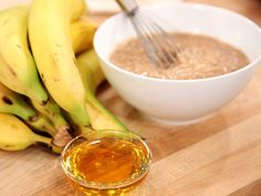 Banana Oatmeal Mask  Mash one banana and 1/2 cup of warm oatmeal together, and add 1 or 2 tablespoons of honey. Let the mixture cool for ten minutes, then apply to your face. Leave the mask on for 10 to 15 minutes, then rinse well with warm water and a washcloth. Banana naturally rejuvenates skin, oatmeal will leave your face feeling soft and smooth, and honey helps to dry out blemishes and acne.
